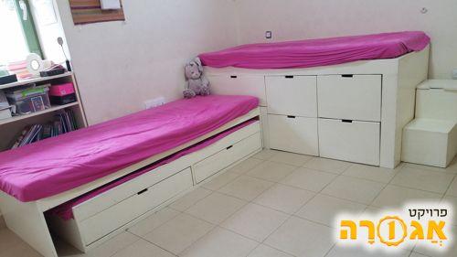 מיטת ילדים גבוהה, משולבת עם פתרון אחסנה