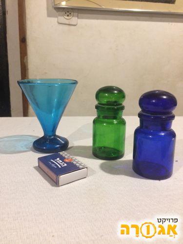3 כלי זכוכית צבעונית צבעונית, קטנים