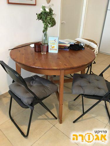 שולחן אוכל מעץ מלא עם 3 כיסאות