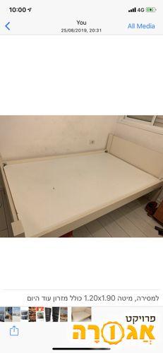 מיטה 1.20x1.90 בצבע לבן, כולל מזרון